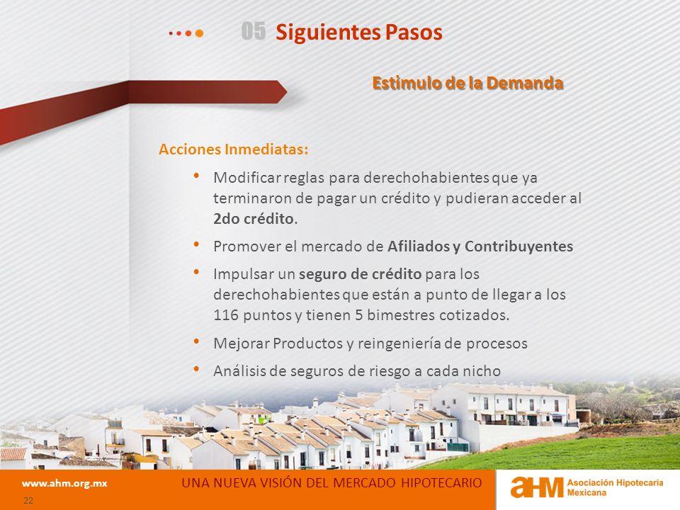 05 Siguientes Pasos UNA NUEVA VISIÓN DEL MERCADO HIPOTECARIO www.ahm.org.mx 22 Acciones Inmediatas: Modificar reglas para derechohabientes que ya terminaron de pagar un crédito y pudieran acceder al 2do crédito.