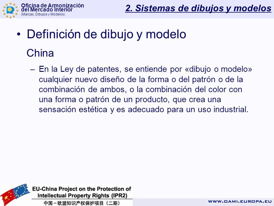 Oficina de Armonización del Mercado Interior (Marcas, Dibujos y Modelos) 2. Sistemas de dibujos y modelos Definición de dibujo y modelo China –En la L