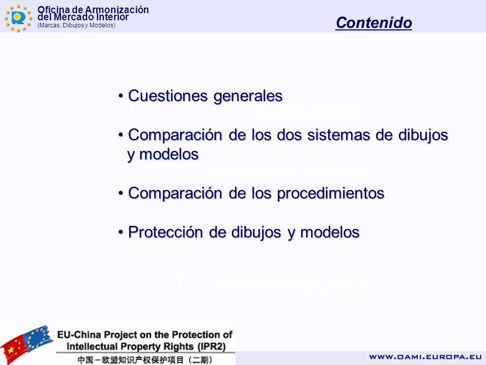 Oficina de Armonización del Mercado Interior (Marcas, Dibujos y Modelos) Contenido 1 1 1 Cuestiones generales Comparación de los sistemas de dibujos y