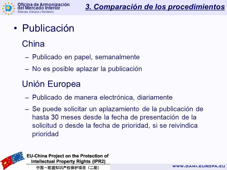 Oficina de Armonización del Mercado Interior (Marcas, Dibujos y Modelos) 3. Comparación de los procedimientos Publicación China –Publicado en papel, s