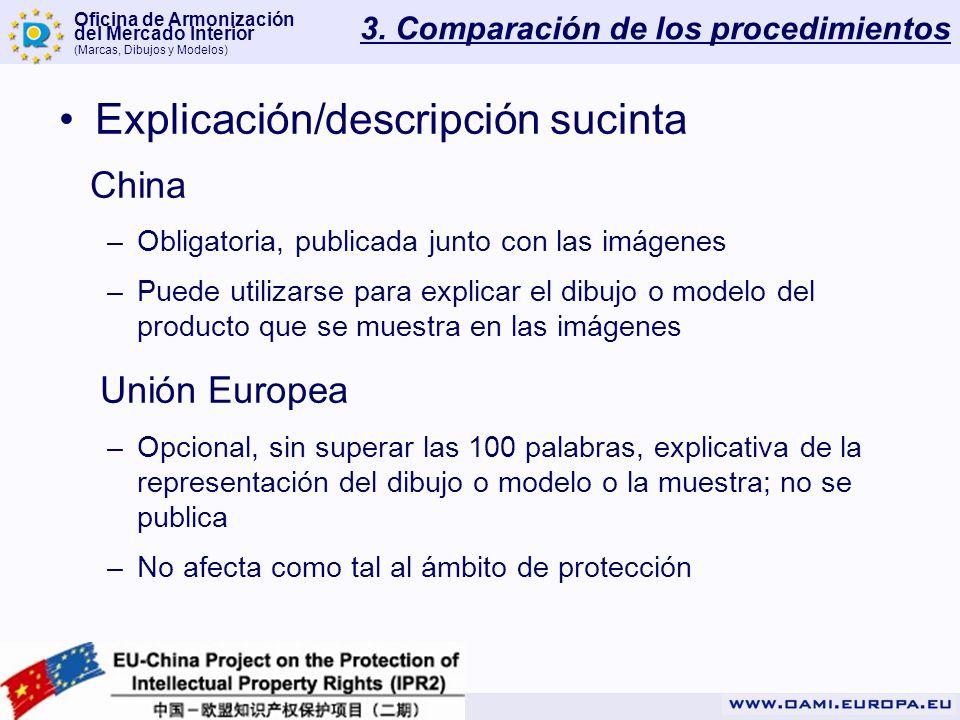 Oficina de Armonización del Mercado Interior (Marcas, Dibujos y Modelos) 3. Comparación de los procedimientos Explicación/descripción sucinta China –O