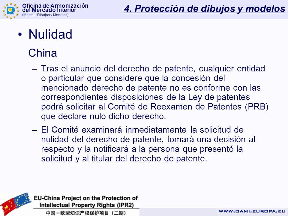 Oficina de Armonización del Mercado Interior (Marcas, Dibujos y Modelos) 4. Protección de dibujos y modelos Nulidad China –Tras el anuncio del derecho