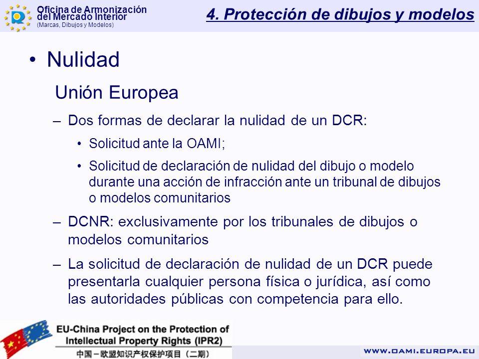 Oficina de Armonización del Mercado Interior (Marcas, Dibujos y Modelos) 4. Protección de dibujos y modelos Nulidad Unión Europea –Dos formas de decla
