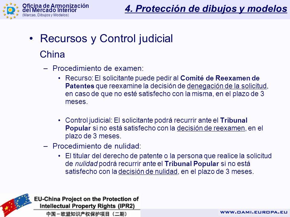 Oficina de Armonización del Mercado Interior (Marcas, Dibujos y Modelos) 4. Protección de dibujos y modelos Recursos y Control judicial China –Procedi