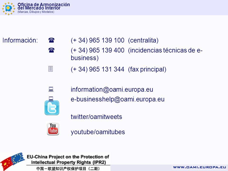 Oficina de Armonización del Mercado Interior (Marcas, Dibujos y Modelos) Información: (+ 34) 965 139 100 (centralita) (+ 34) 965 139 400 (incidencias