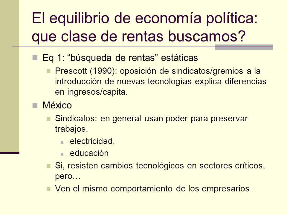 El equilibrio de economía política: que clase de rentas buscamos.