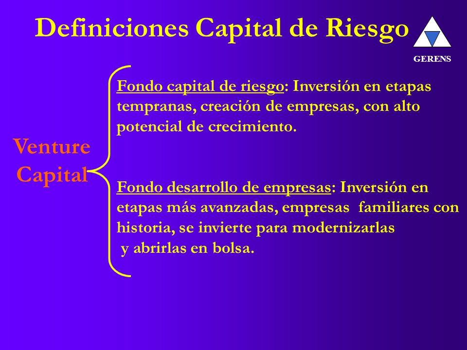 Definiciones Capital de Riesgo GERENS Venture Capital Fondo capital de riesgo: Inversión en etapas tempranas, creación de empresas, con alto potencial de crecimiento.