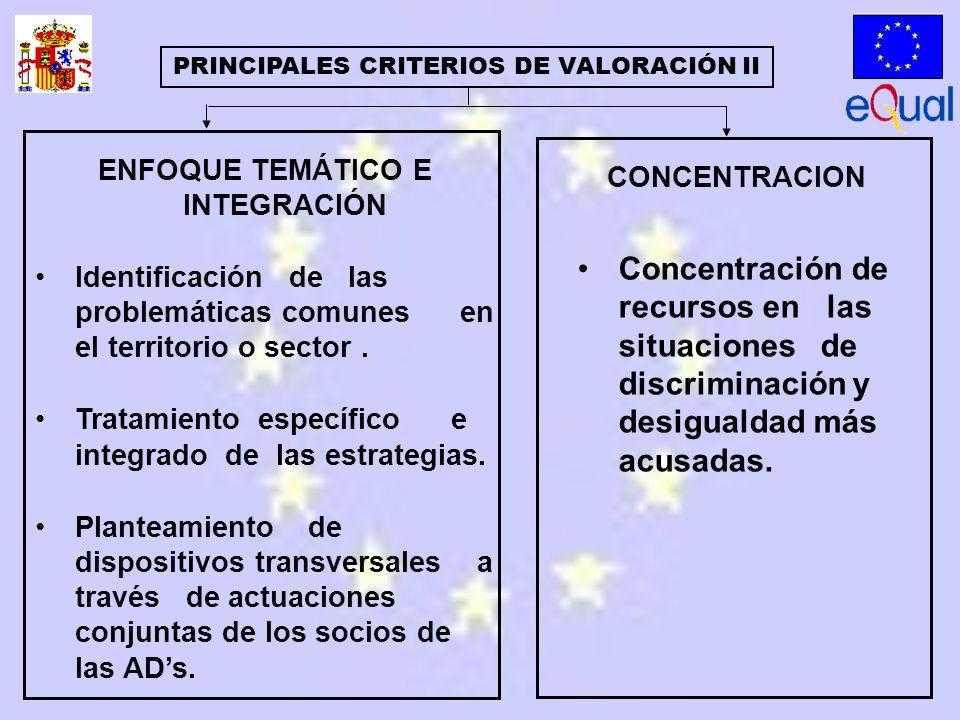 ENFOQUE TEMÁTICO E INTEGRACIÓN Identificación de las problemáticas comunes en el territorio o sector.