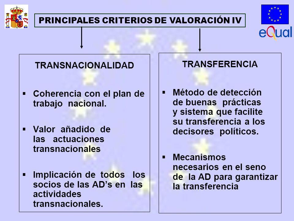 TRANSNACIONALIDAD Coherencia con el plan de trabajo nacional.