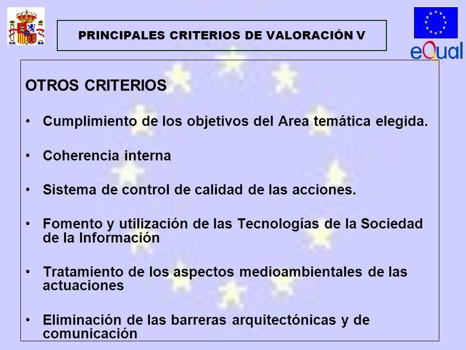 OTROS CRITERIOS Cumplimiento de los objetivos del Area temática elegida.