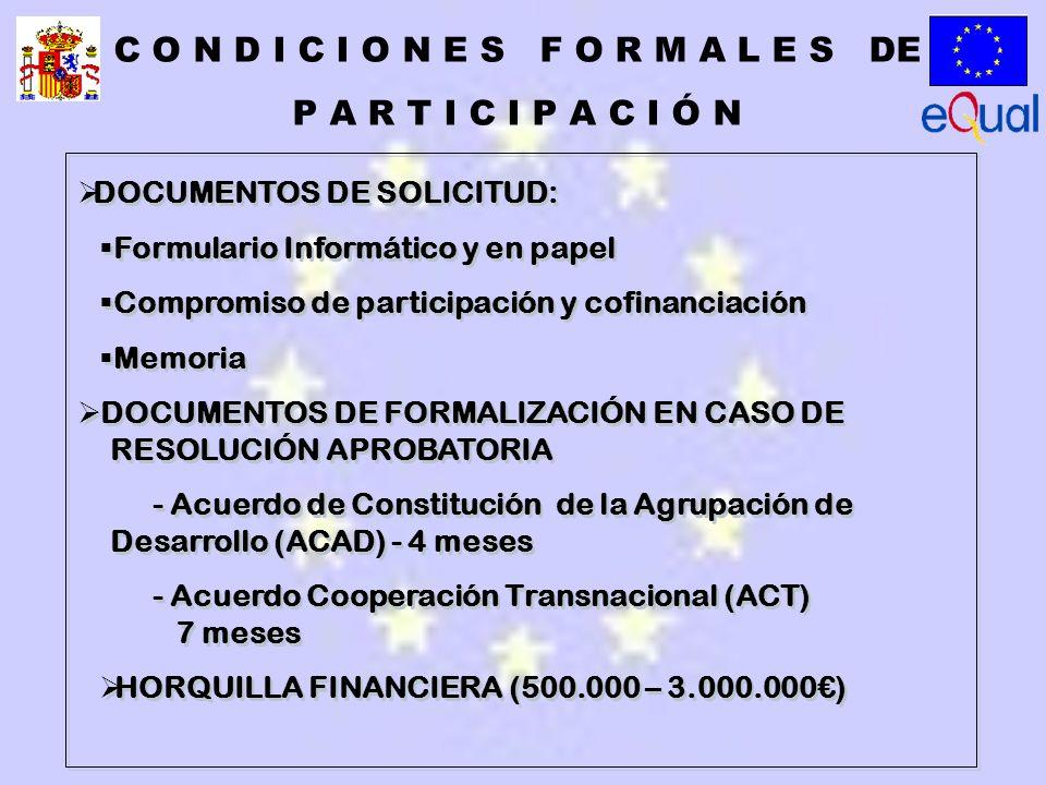 DOCUMENTOS DE SOLICITUD: Formulario Informático y en papel Compromiso de participación y cofinanciación Memoria DOCUMENTOS DE FORMALIZACIÓN EN CASO DE RESOLUCIÓN APROBATORIA - Acuerdo de Constitución de la Agrupación de Desarrollo (ACAD) - 4 meses - Acuerdo Cooperación Transnacional (ACT) 7 meses HORQUILLA FINANCIERA (500.000 – 3.000.000) DOCUMENTOS DE SOLICITUD: Formulario Informático y en papel Compromiso de participación y cofinanciación Memoria DOCUMENTOS DE FORMALIZACIÓN EN CASO DE RESOLUCIÓN APROBATORIA - Acuerdo de Constitución de la Agrupación de Desarrollo (ACAD) - 4 meses - Acuerdo Cooperación Transnacional (ACT) 7 meses HORQUILLA FINANCIERA (500.000 – 3.000.000) C O N D I C I O N E S F O R M A L E S DE P A R T I C I P A C I Ó N