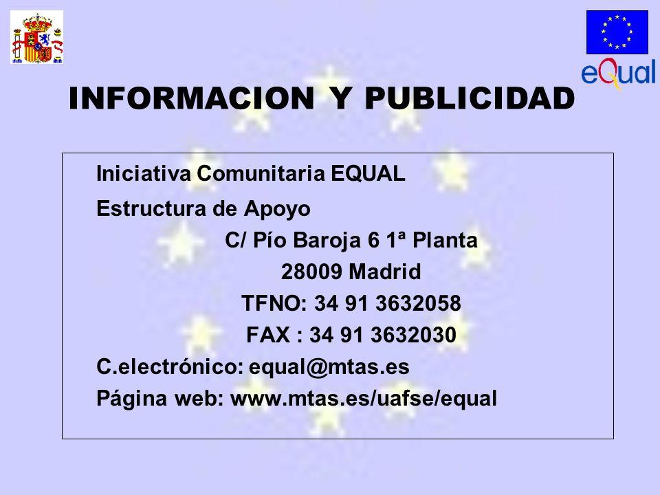 Iniciativa Comunitaria EQUAL Estructura de Apoyo C/ Pío Baroja 6 1ª Planta 28009 Madrid TFNO: 34 91 3632058 FAX : 34 91 3632030 C.electrónico: equal@mtas.es Página web: www.mtas.es/uafse/equal INFORMACION Y PUBLICIDAD