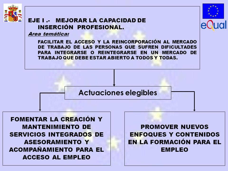 FOMENTAR LA CREACIÓN Y MANTENIMIENTO DE SERVICIOS INTEGRADOS DE ASESORAMIENTO Y ACOMPAÑAMIENTO PARA EL ACCESO AL EMPLEO PROMOVER NUEVOS ENFOQUES Y CONTENIDOS EN LA FORMACIÓN PARA EL EMPLEO EJE I.- MEJORAR LA CAPACIDAD DE INSERCIÓN PROFESIONAL.