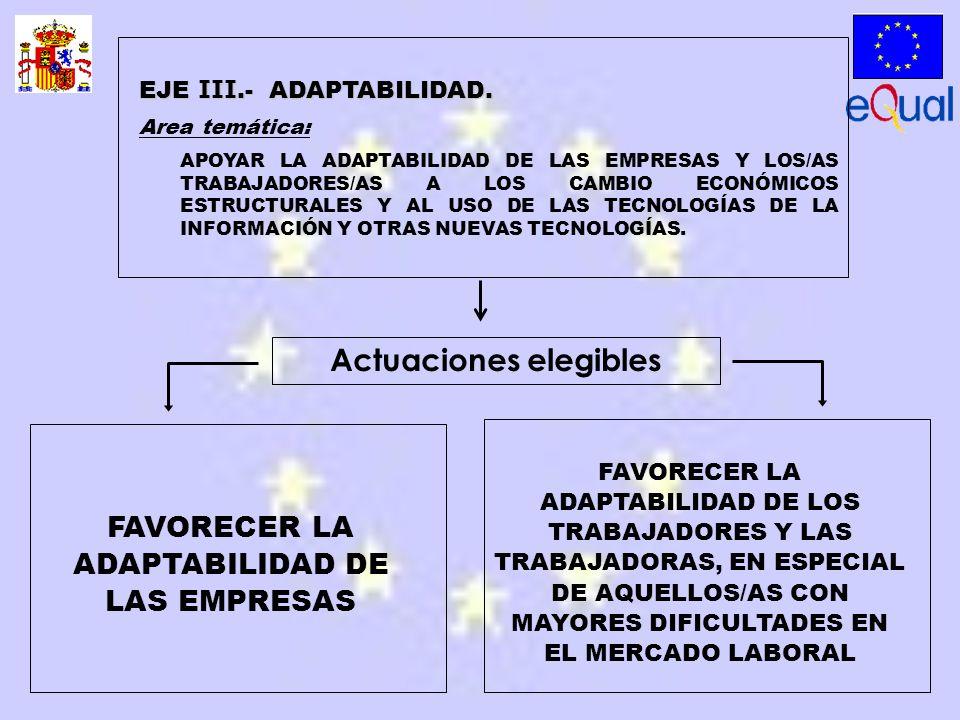 FAVORECER LA ADAPTABILIDAD DE LAS EMPRESAS FAVORECER LA ADAPTABILIDAD DE LOS TRABAJADORES Y LAS TRABAJADORAS, EN ESPECIAL DE AQUELLOS/AS CON MAYORES DIFICULTADES EN EL MERCADO LABORAL EJE III.- ADAPTABILIDAD.