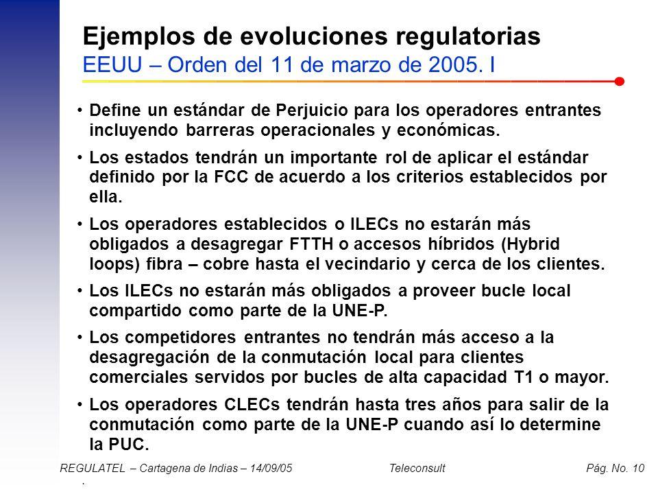 . REGULATEL – Cartagena de Indias – 14/09/05 Teleconsult Pág. No. 10 Ejemplos de evoluciones regulatorias EEUU – Orden del 11 de marzo de 2005. I Defi