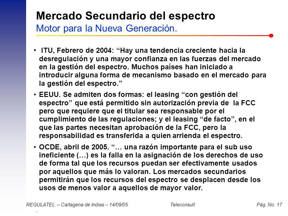 . REGULATEL – Cartagena de Indias – 14/09/05 Teleconsult Pág. No. 17 Mercado Secundario del espectro Motor para la Nueva Generación. ITU, Febrero de 2