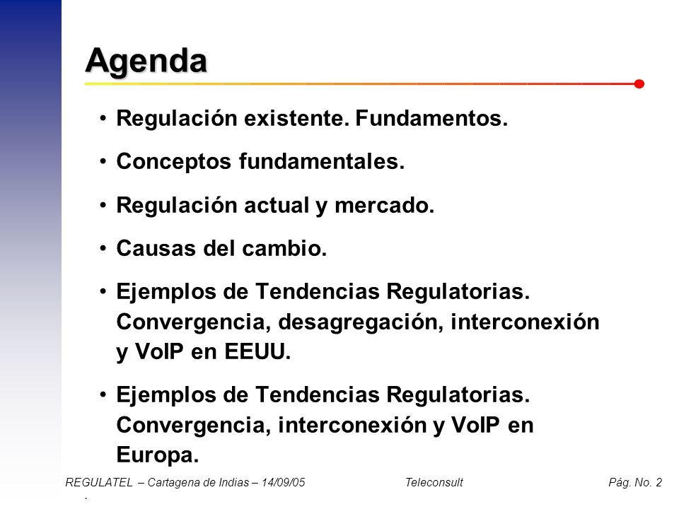 . REGULATEL – Cartagena de Indias – 14/09/05 Teleconsult Pág. No. 2 Agenda Regulación existente. Fundamentos. Conceptos fundamentales. Regulación actu