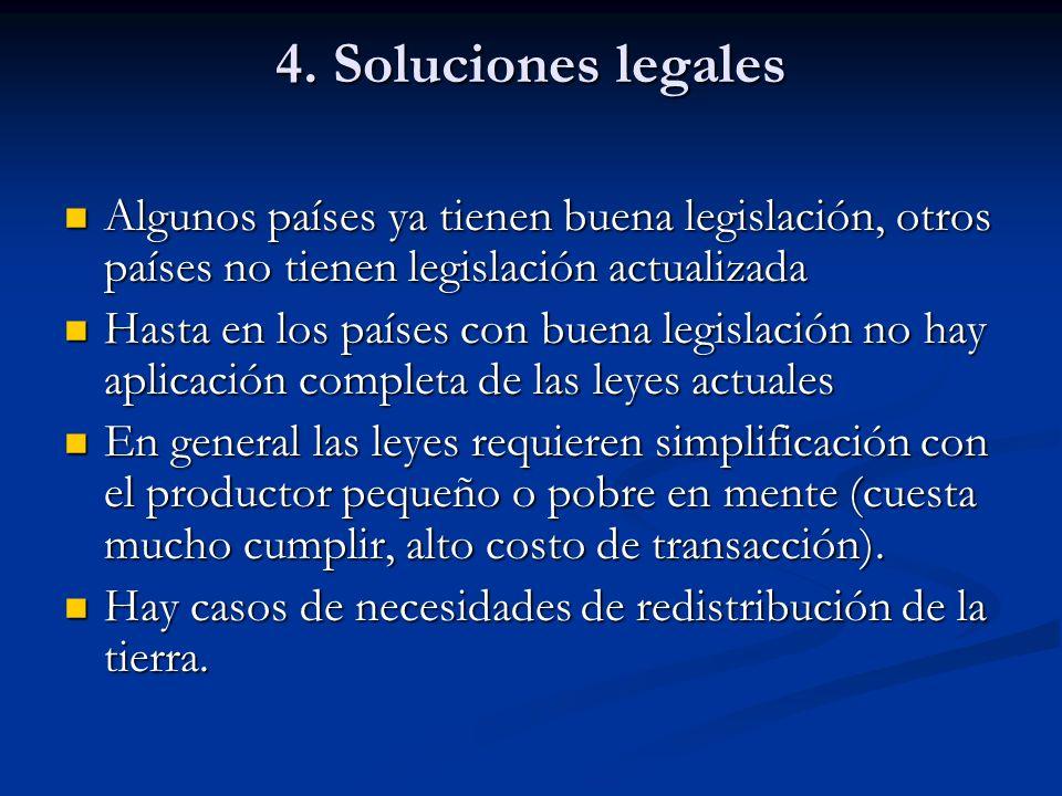4. Soluciones legales Algunos países ya tienen buena legislación, otros países no tienen legislación actualizada Algunos países ya tienen buena legisl