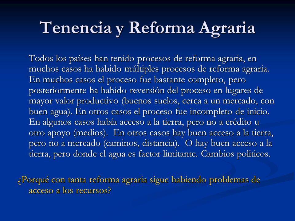 Tenencia y Reforma Agraria Todos los países han tenido procesos de reforma agraria, en muchos casos ha habido múltiples procesos de reforma agraria.