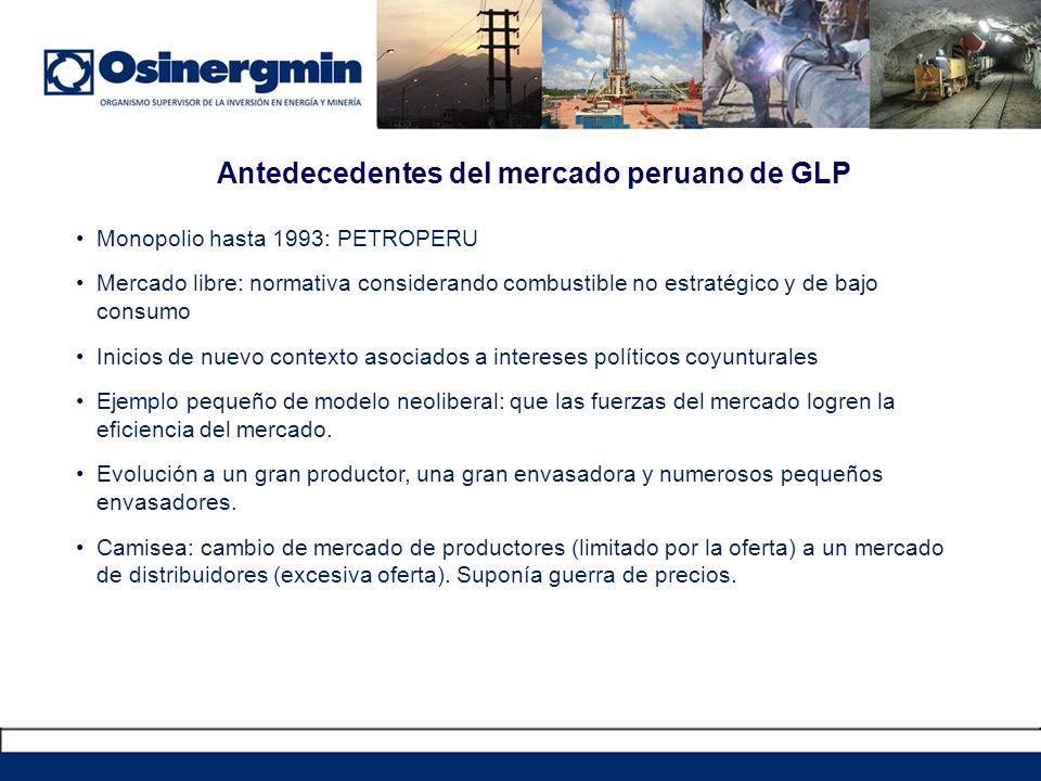 Antedecedentes del mercado peruano de GLP Monopolio hasta 1993: PETROPERU Mercado libre: normativa considerando combustible no estratégico y de bajo c