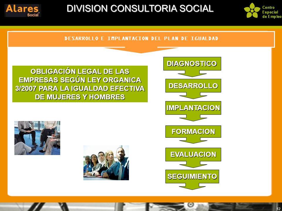 12 DESARROLLO E IMPLANTACION DEL PLAN DE IGUALDAD DIVISION CONSULTORIA SOCIAL DIAGNOSTICO DESARROLLO EVALUACION IMPLANTACION SEGUIMIENTO FORMACION OBL
