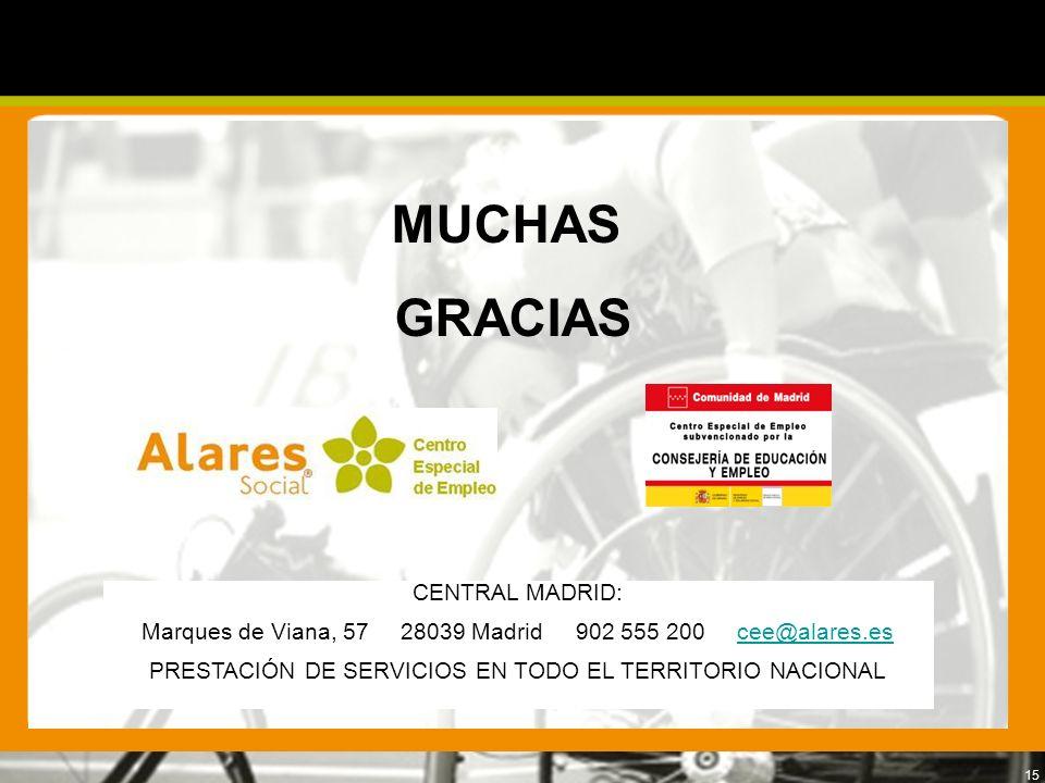 15 CENTRAL MADRID: Marques de Viana, 57 28039 Madrid 902 555 200 cee@alares.escee@alares.es PRESTACIÓN DE SERVICIOS EN TODO EL TERRITORIO NACIONAL MUC