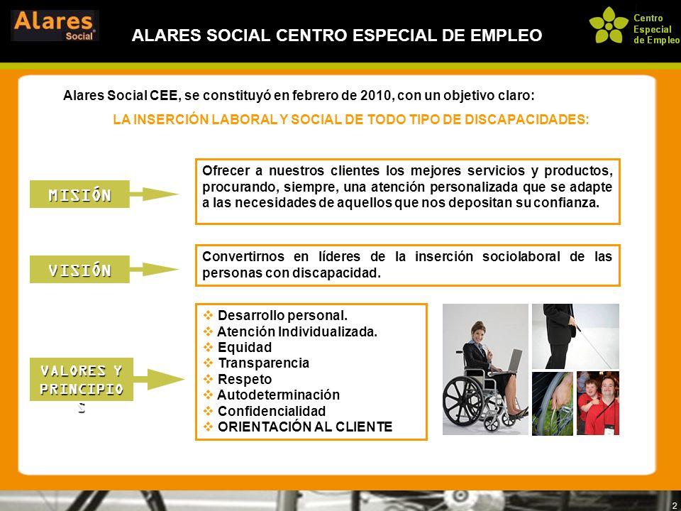 2 ALARES SOCIAL CENTRO ESPECIAL DE EMPLEO Ofrecer a nuestros clientes los mejores servicios y productos, procurando, siempre, una atención personaliza