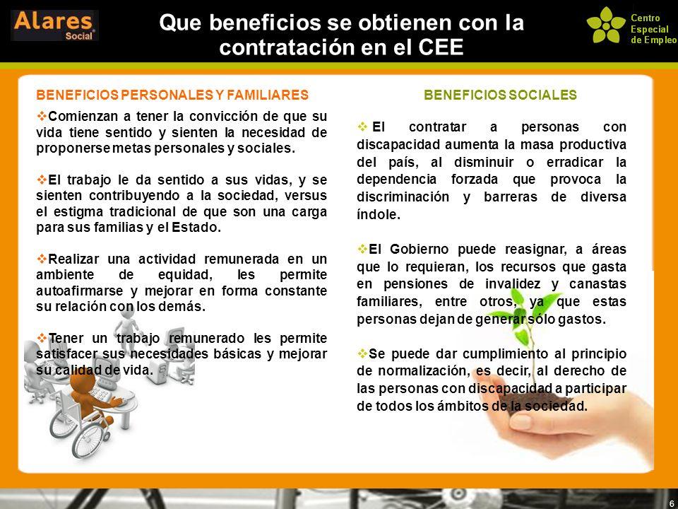 6 Que beneficios se obtienen con la contratación en el CEE BENEFICIOS PERSONALES Y FAMILIARES Comienzan a tener la convicción de que su vida tiene sen