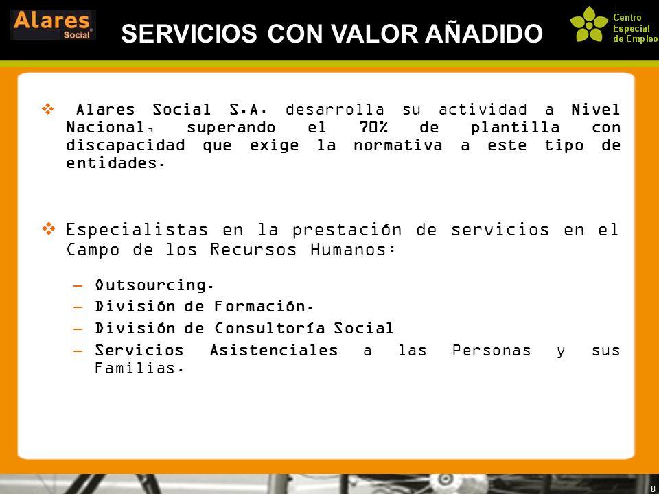 8 SERVICIOS CON VALOR AÑADIDO Alares Social S.A. desarrolla su actividad a Nivel Nacional, superando el 70% de plantilla con discapacidad que exige la