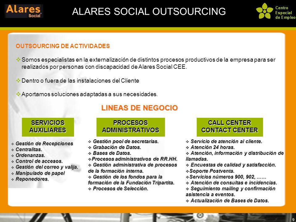 9 ALARES SOCIAL OUTSOURCING OUTSOURCING DE ACTIVIDADES Somos especialistas en la externalización de distintos procesos productivos de la empresa para