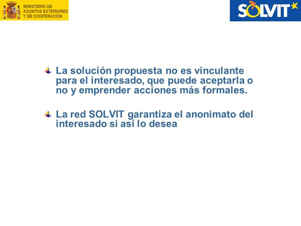 La solución propuesta no es vinculante para el interesado, que puede aceptarla o no y emprender acciones más formales. La red SOLVIT garantiza el anon