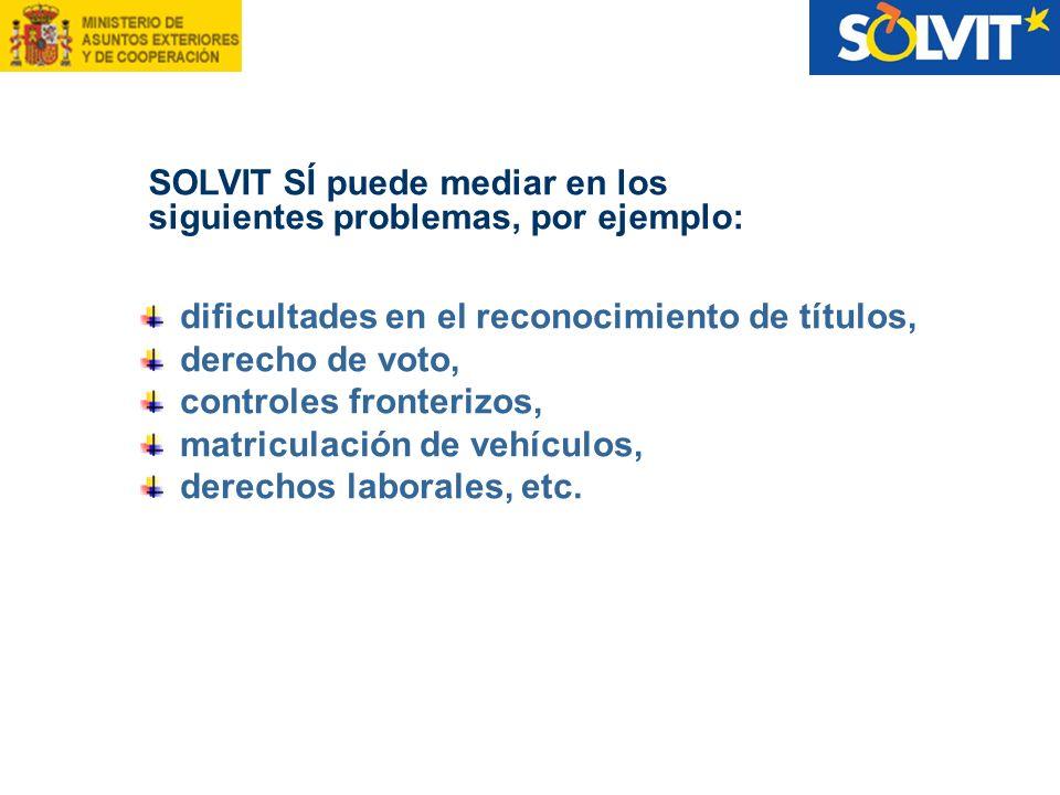 dificultades en el reconocimiento de títulos, derecho de voto, controles fronterizos, matriculación de vehículos, derechos laborales, etc. SOLVIT SÍ p
