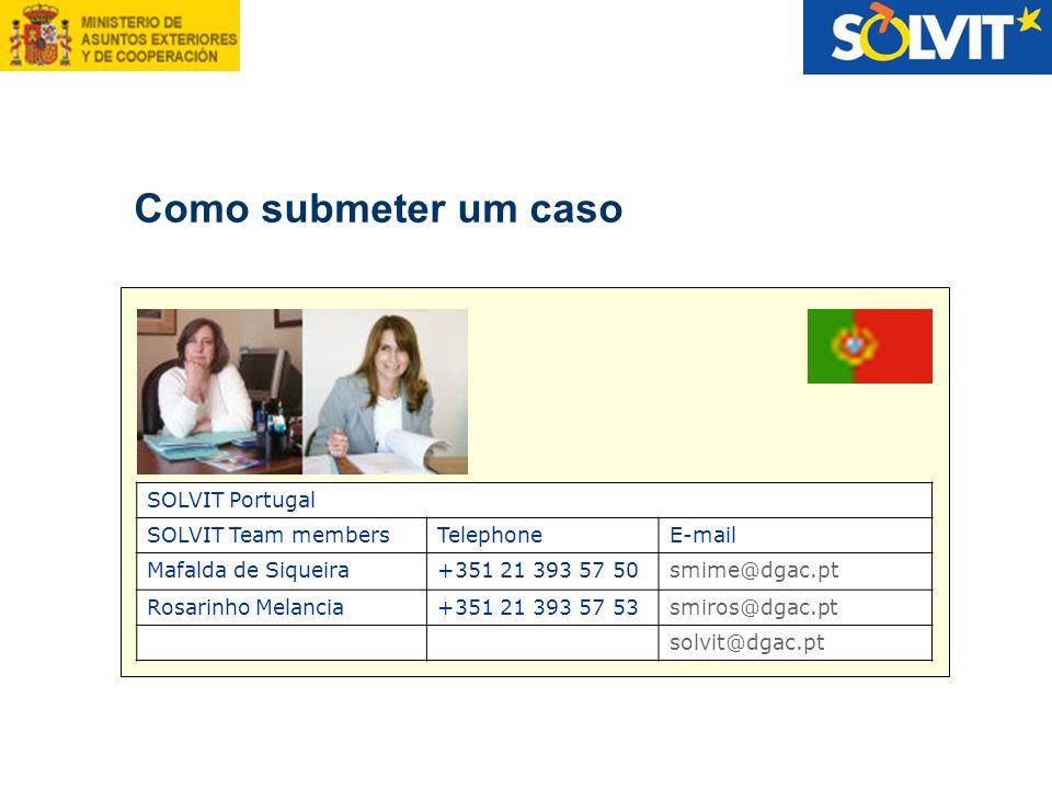 Como submeter um caso SOLVIT Portugal SOLVIT Team membersTelephoneE-mail Mafalda de Siqueira+351 21 393 57 50smime@dgac.pt Rosarinho Melancia+351 21 3