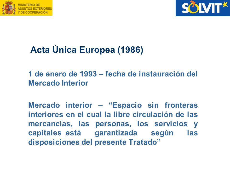 1 de enero de 1993 – fecha de instauración del Mercado Interior Mercado interior – Espacio sin fronteras interiores en el cual la libre circulación de