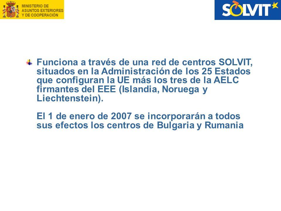 Funciona a través de una red de centros SOLVIT, situados en la Administración de los 25 Estados que configuran la UE más los tres de la AELC firmantes
