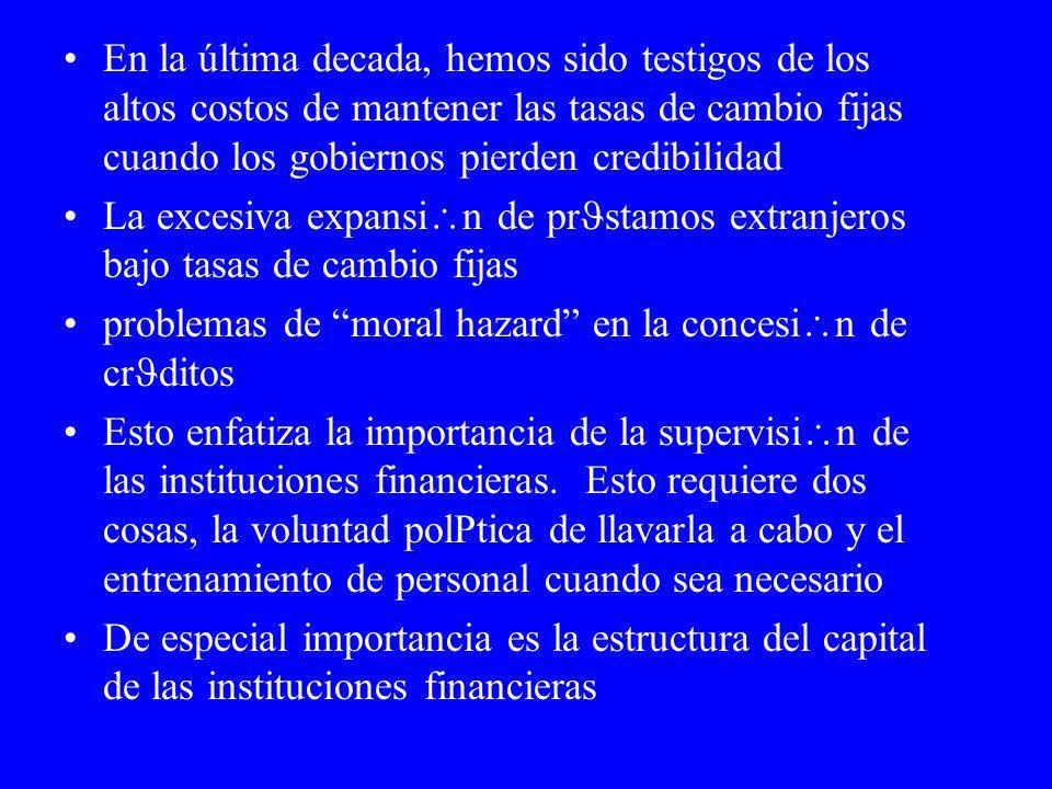 Crisis Financieras 1982 marca el principio de las crisis financieras en los países menos desarrollados En los 90 esta crisis ha afectado a todo tipo de países y continents Hay dos interpretaciones opuestas de porqu las crisis ocurren: –Una sostiene que es debido a capitales oportunistas –La otra sostiene que las crisis ocurren por un desequilibrio interno de la econom a de un pa s y, consequentemente, los capitales especulativos solo imponen disciplina.