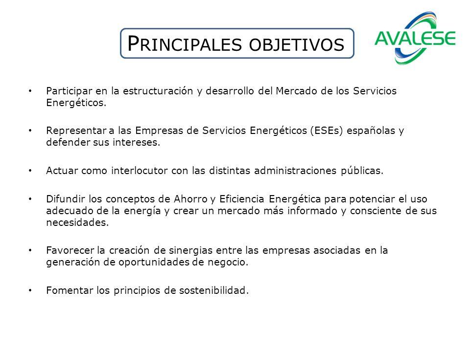 P RINCIPALES OBJETIVOS Participar en la estructuración y desarrollo del Mercado de los Servicios Energéticos. Representar a las Empresas de Servicios