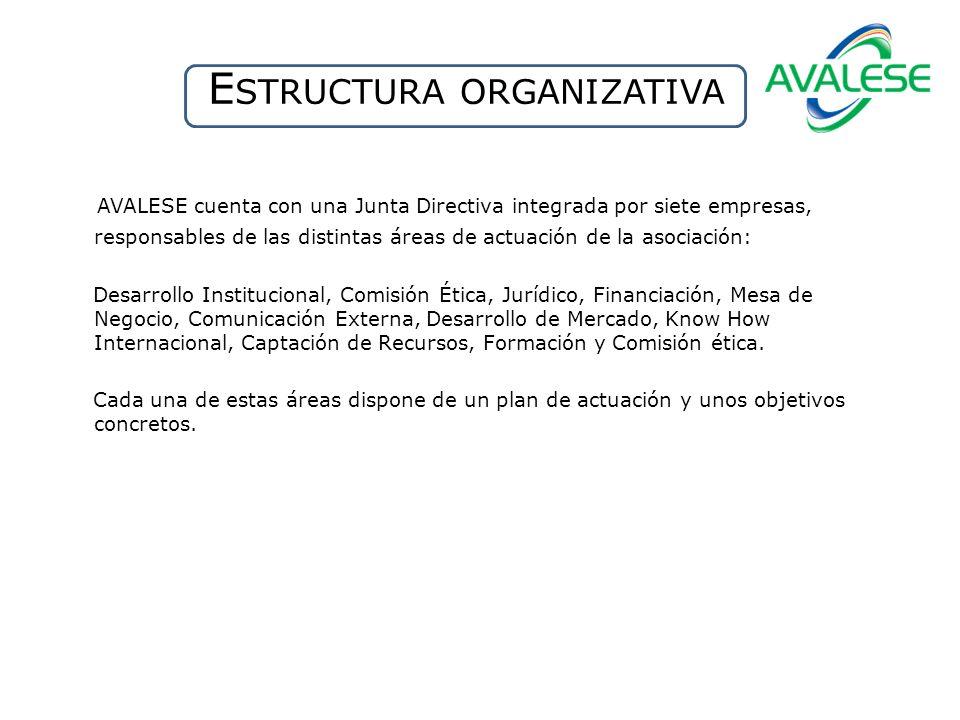 E STRUCTURA ORGANIZATIVA AVALESE cuenta con una Junta Directiva integrada por siete empresas, responsables de las distintas áreas de actuación de la a