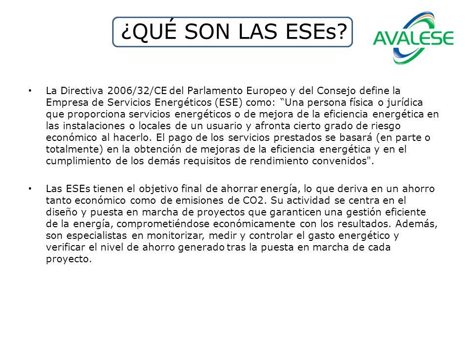 ¿QUÉ SON LAS ESEs? La Directiva 2006/32/CE del Parlamento Europeo y del Consejo define la Empresa de Servicios Energéticos (ESE) como: Una persona fís