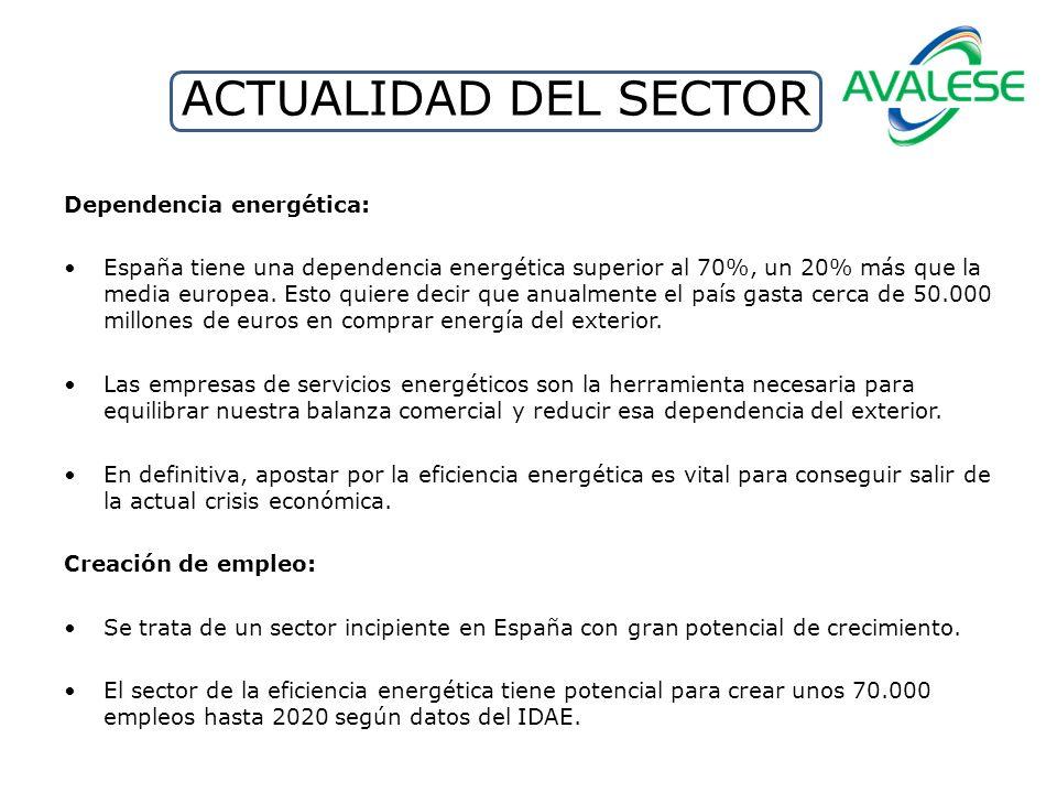 ACTUALIDAD DEL SECTOR Dependencia energética: España tiene una dependencia energética superior al 70%, un 20% más que la media europea. Esto quiere de