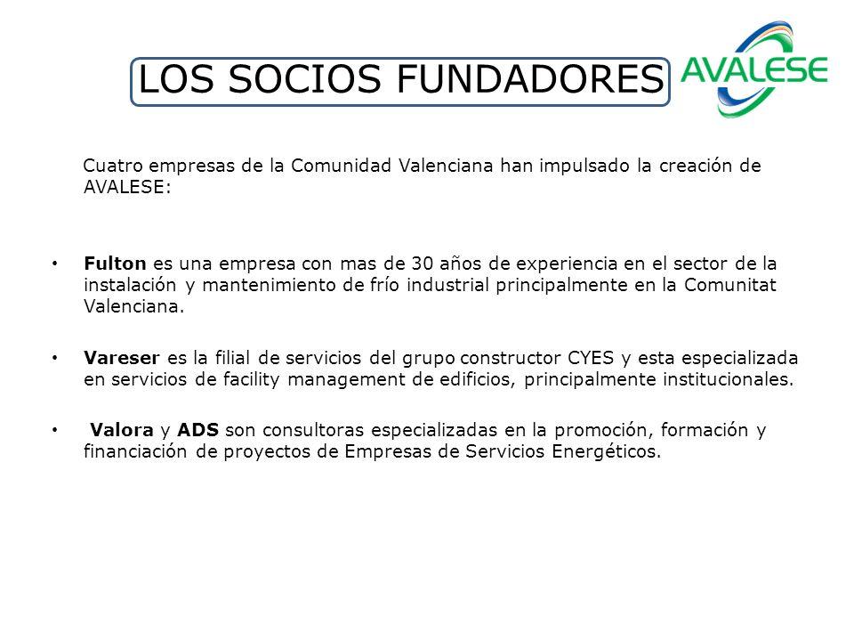 LOS SOCIOS FUNDADORES Cuatro empresas de la Comunidad Valenciana han impulsado la creación de AVALESE: Fulton es una empresa con mas de 30 años de experiencia en el sector de la instalación y mantenimiento de frío industrial principalmente en la Comunitat Valenciana.