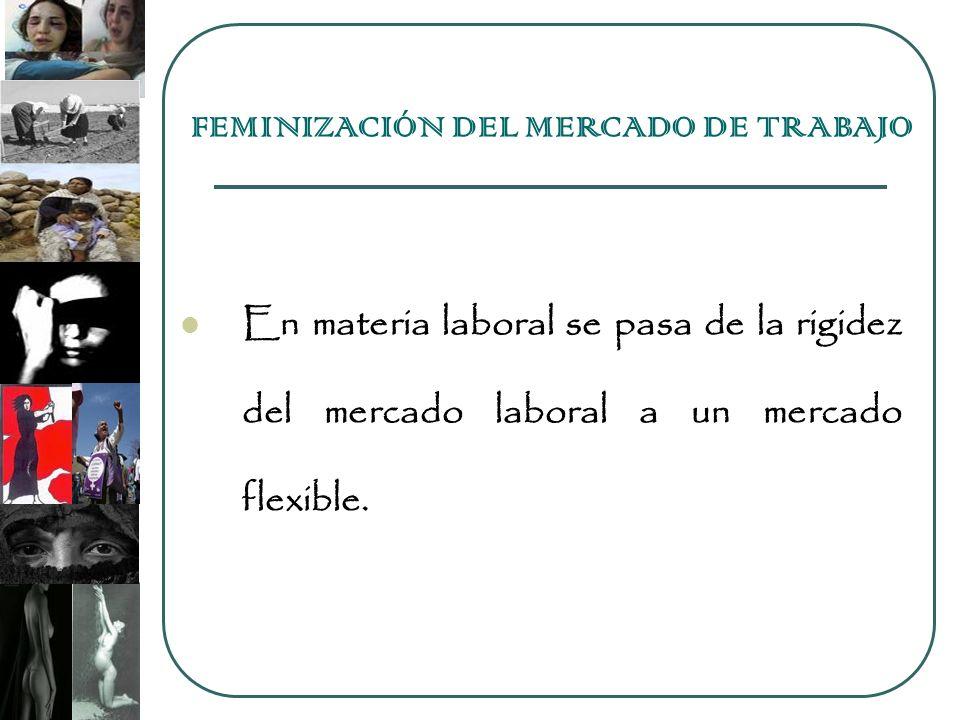 En materia laboral se pasa de la rigidez del mercado laboral a un mercado flexible. FEMINIZACIÓN DEL MERCADO DE TRABAJO