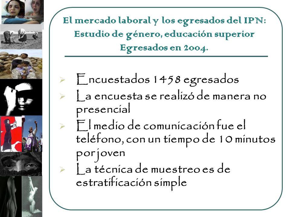 Encuestados 1458 egresados La encuesta se realizó de manera no presencial El medio de comunicación fue el teléfono, con un tiempo de 10 minutos por joven La técnica de muestreo es de estratificación simple El mercado laboral y los egresados del IPN: Estudio de género, educación superior Egresados en 2004.