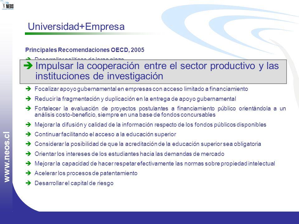 w w w. n e o s. c l Principales Recomendaciones OECD, 2005 Desarrollar políticas de largo plazo Impulsar la cooperación entre el sector productivo y l