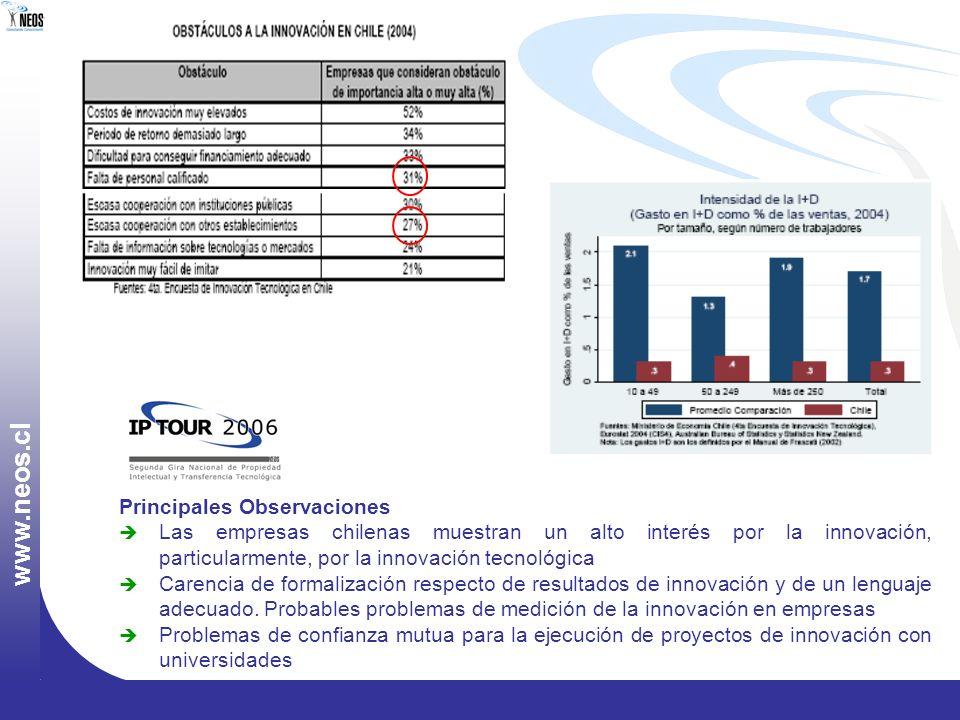 w w w. n e o s. c l Principales Observaciones Las empresas chilenas muestran un alto interés por la innovación, particularmente, por la innovación tec