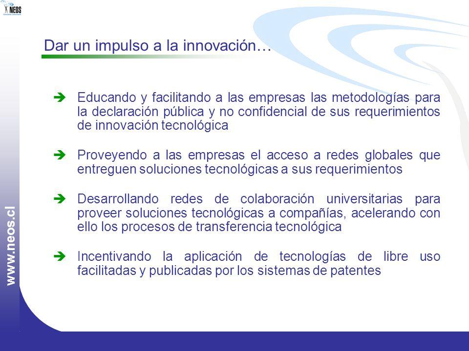 w w w. n e o s. c l Dar un impulso a la innovación… Educando y facilitando a las empresas las metodologías para la declaración pública y no confidenci