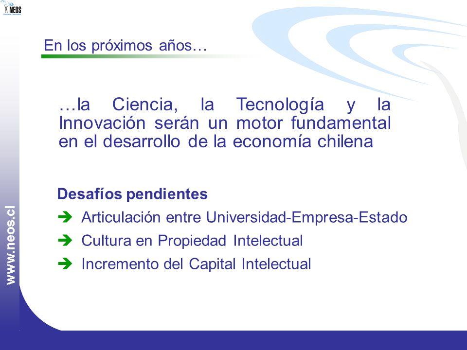 w w w. n e o s. c l Desafíos pendientes Articulación entre Universidad-Empresa-Estado Cultura en Propiedad Intelectual Incremento del Capital Intelect