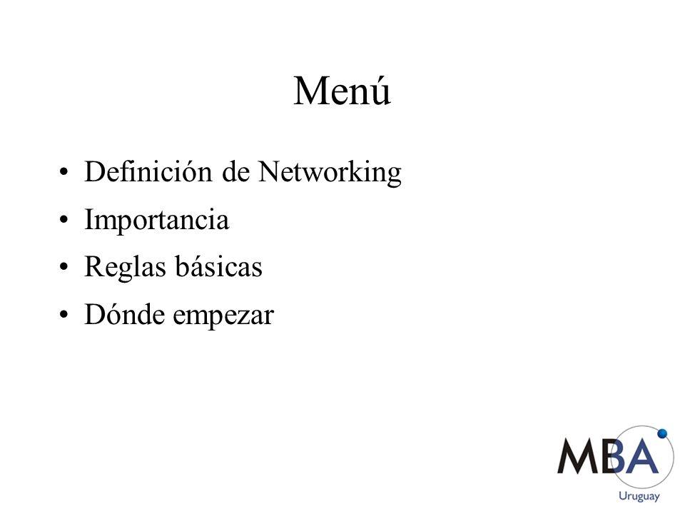 Menú Definición de Networking Importancia Reglas básicas Dónde empezar