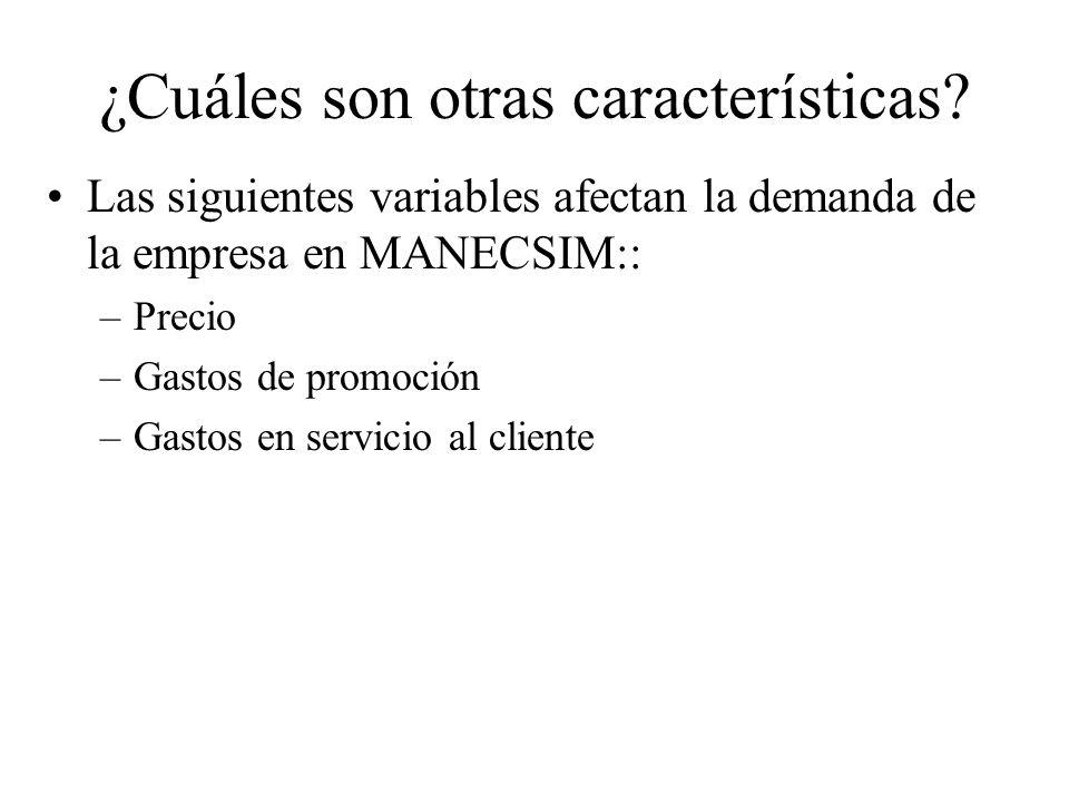 Las siguientes variables afectan la demanda de la empresa en MANECSIM:: –Precio –Gastos de promoción –Gastos en servicio al cliente ¿Cuáles son otras