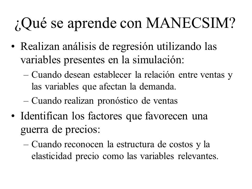 Realizan análisis de regresión utilizando las variables presentes en la simulación: –Cuando desean establecer la relación entre ventas y las variables que afectan la demanda.